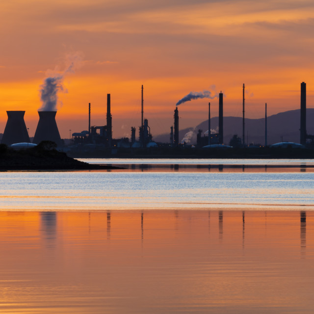"""Sunset over Grangemouth"" stock image"