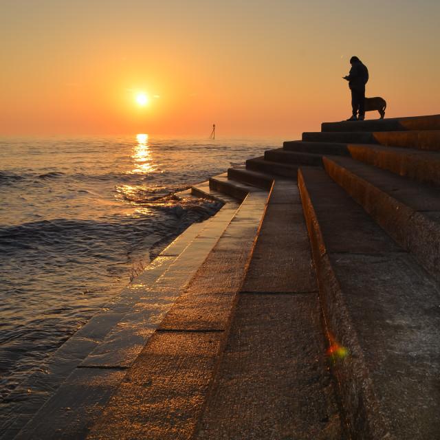 """Man watching sea sunrise"" stock image"