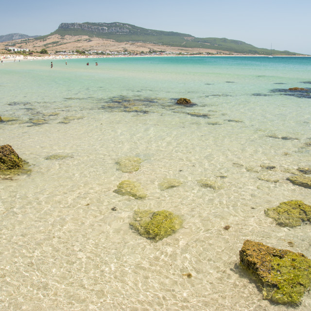 """Seascape at Bolonia dunes"" stock image"