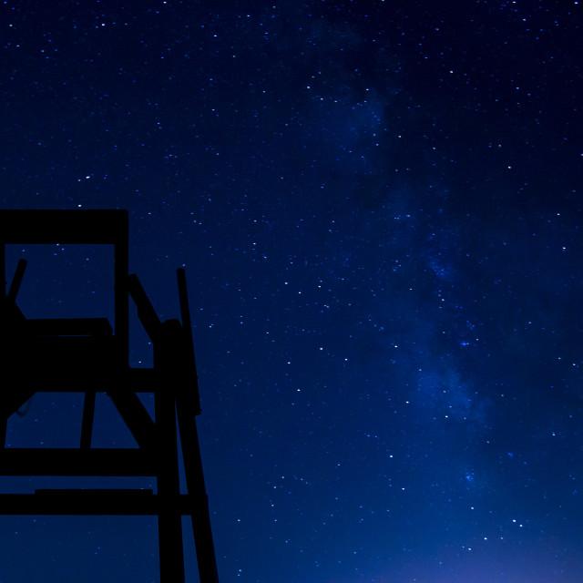 """Lifeguard chair at night"" stock image"