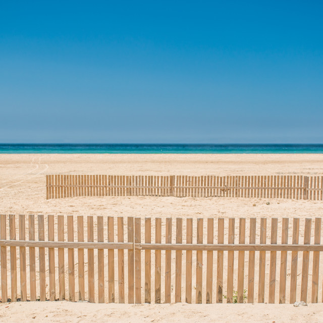 """""""Fence on a beach"""" stock image"""