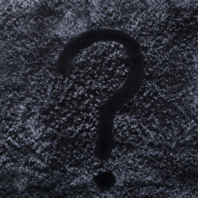 """Question mark on chalkboard"" stock image"