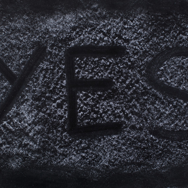 """""""YES text on Chalkboard"""" stock image"""