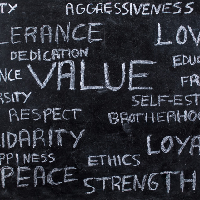 """Core values on blackboard"" stock image"