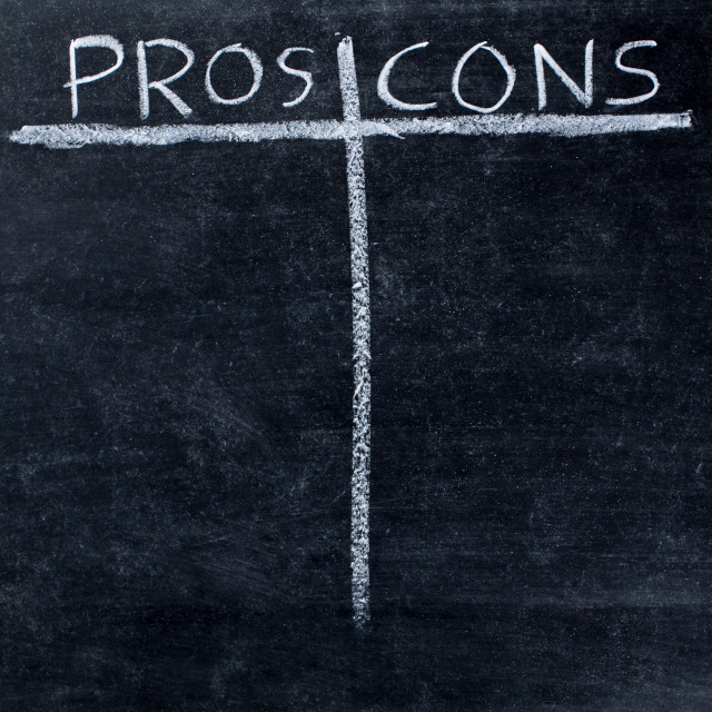 """""""Pros and cons on blackboard"""" stock image"""