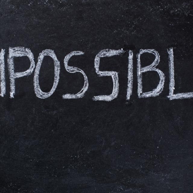 """""""Impossible written on blackboard"""" stock image"""