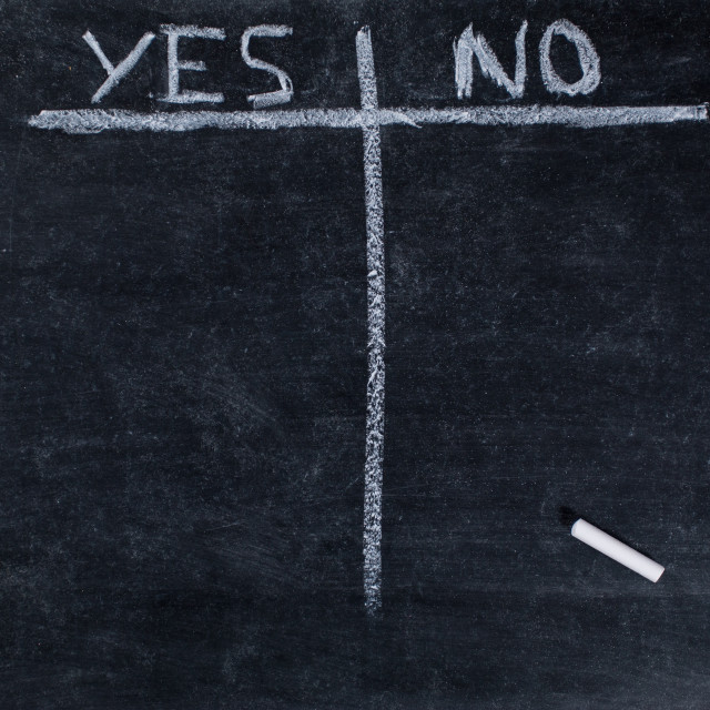 """""""List of yes or no"""" stock image"""