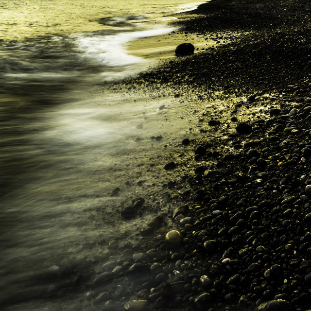 """Black beach in Gold"" stock image"
