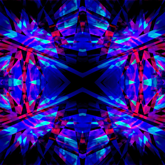 """""""Blue and red kaleidoscope pattern"""" stock image"""