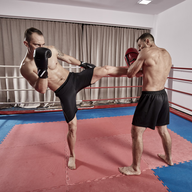 """""""Muay thai fighters sparring"""" stock image"""