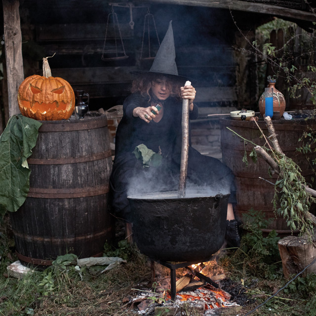 """""""Witch boiling spells"""" stock image"""