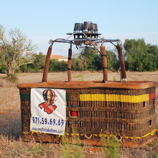 """Hot air balloon basket, Majorca"" stock image"