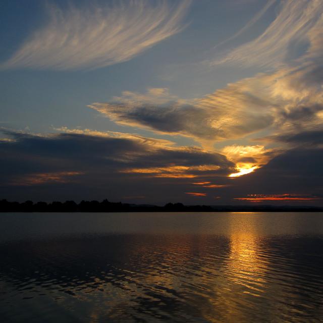 """Evening at Big Lakes of Moravia"" stock image"