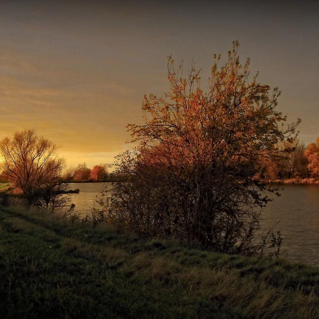 """Evening at Big Lakes of Moravia III"" stock image"