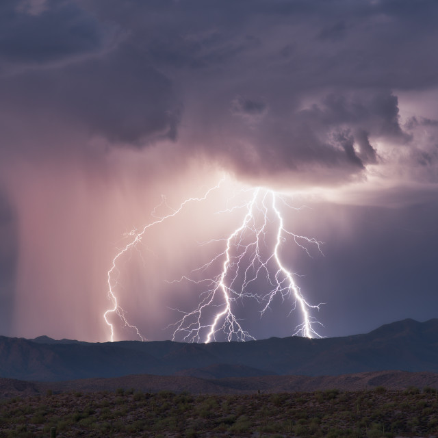 """Thunderstorm with lightning"" stock image"