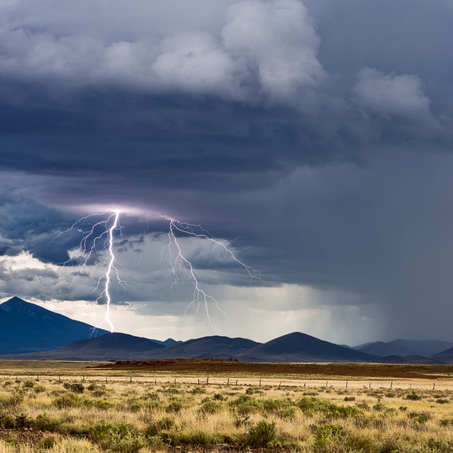 """Thunderstorm with lightning bolt"" stock image"