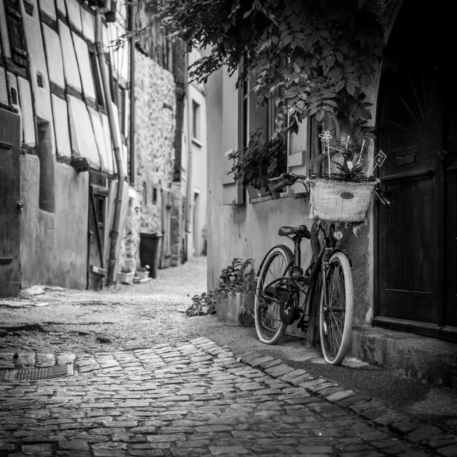 """Eguisheim bike, Alsace, France"" stock image"