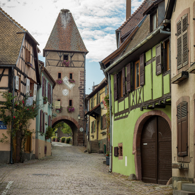 """Ammerschwihr gate, Alsace, France"" stock image"