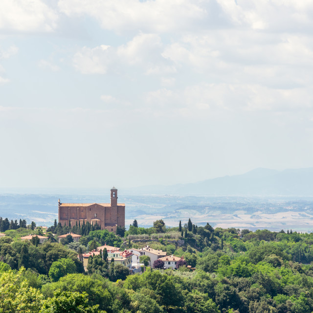 """""""Beatiful view to tuscany landscape with ancient church"""" stock image"""