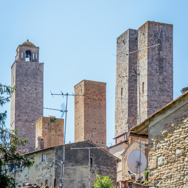 """""""View on very famous ancestral family towers in UNESCO town San Gimignano"""" stock image"""