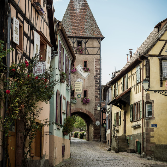 """Ammerschwihr city gate, Alsace, France"" stock image"
