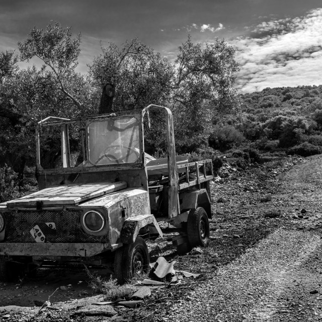 """Abandoned Vehicle in Alonissos."" stock image"