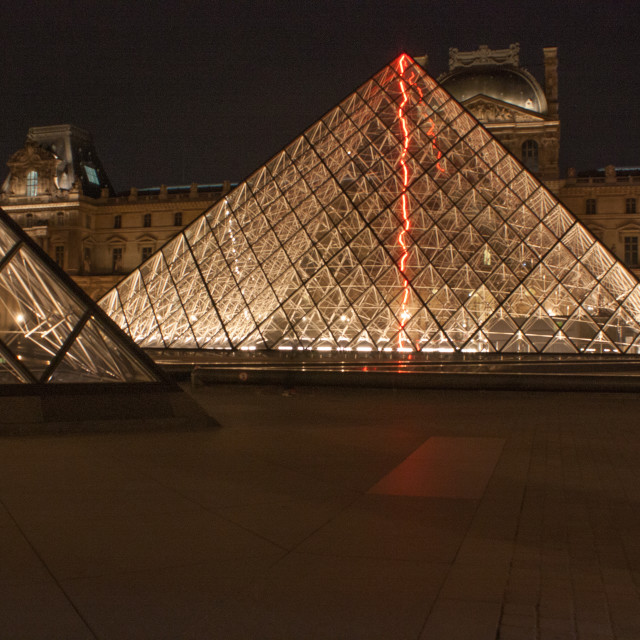 """The Louvre at night"" stock image"