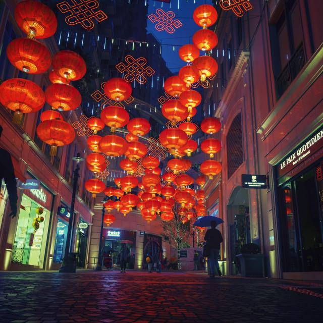 """""""Night Walk at Wan Chai: Travel in Hong Kong"""" stock image"""
