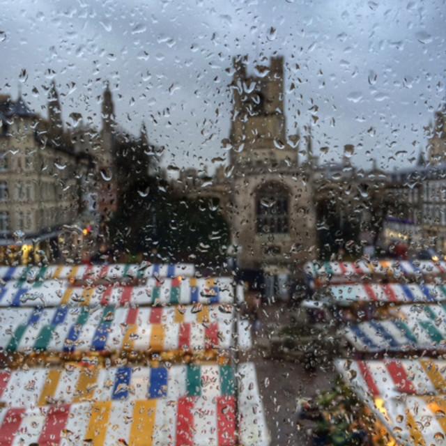 """""""Cambridge market on rainy day"""" stock image"""