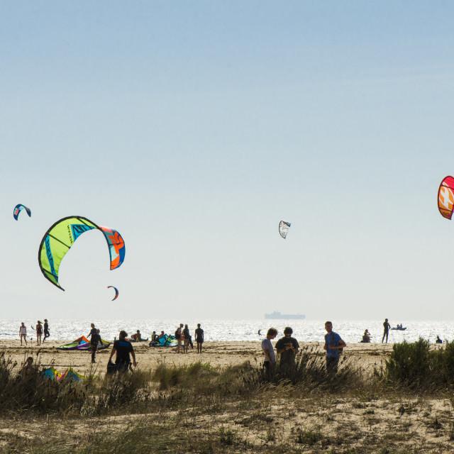 """Kite surfers on beach at Tarifa"" stock image"