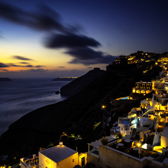 """Fira by night"" stock image"