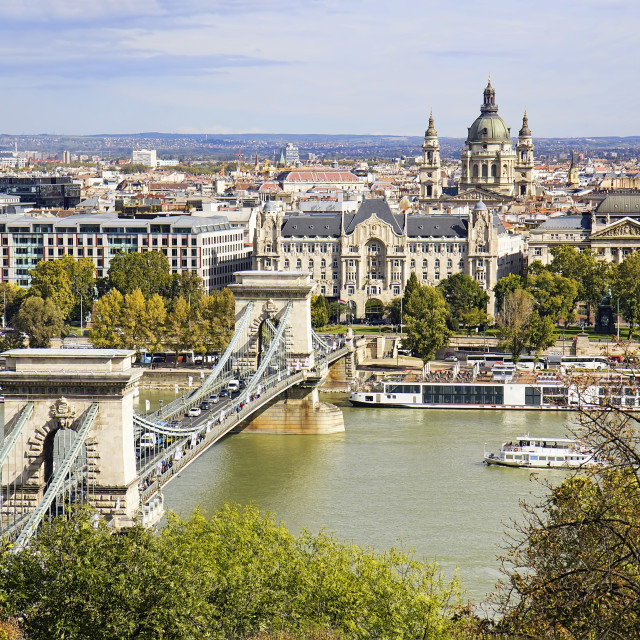 """View of St Stephen's Basilica and Chain Bridge in Budapest"" stock image"