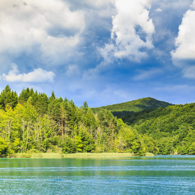 """""""Mountain landscape with mountains forests and water. Plitvice lakes, Croatia"""" stock image"""