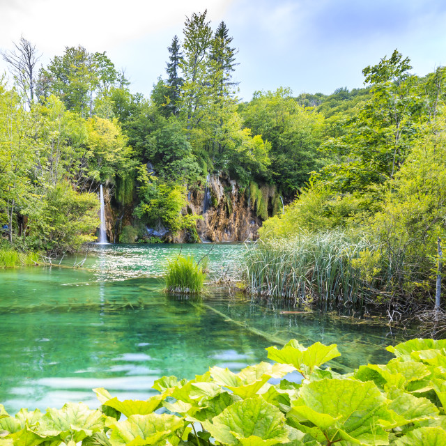 """""""Landscape with mountains green trees and blue sky water. Plitvice lakes, Croatia"""" stock image"""
