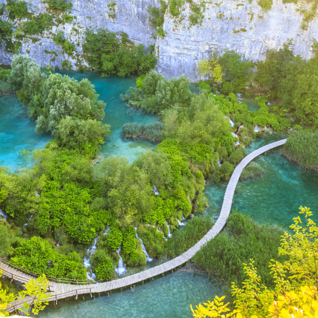 """""""Aerial view on Plitvice lakes and waterfalls, Croatia"""" stock image"""