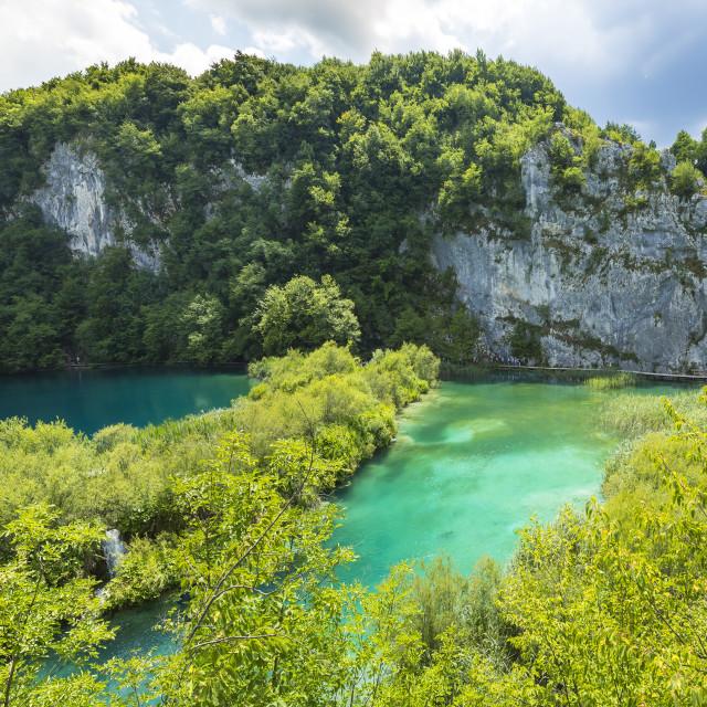 """Aerial panoramic view on Plitvice lakes and waterfalls, Croatia"" stock image"