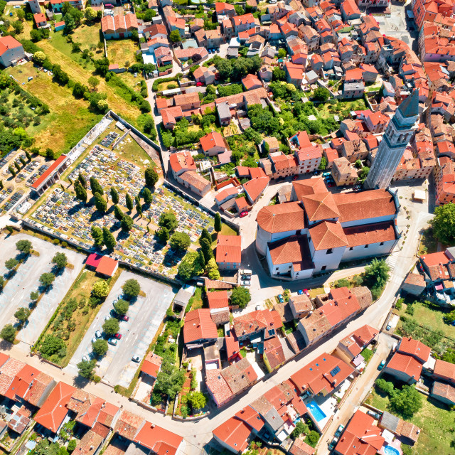 """Town of Vodnjan tower and rooftops aerial view"" stock image"