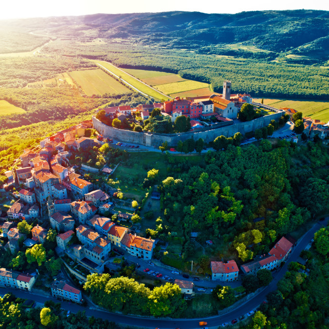 """Hill town of Motovun at sunset aerial view"" stock image"