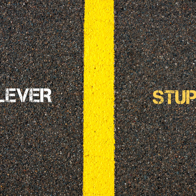 """Antonym concept of CLEVER versus STUPID"" stock image"