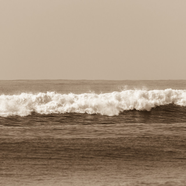 """Ocean Sepia Wave White Water"" stock image"