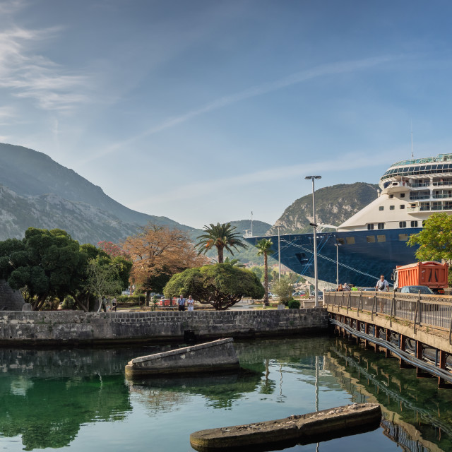 """""""Kotor fortress lower part with cruiseship in Montenegro"""" stock image"""
