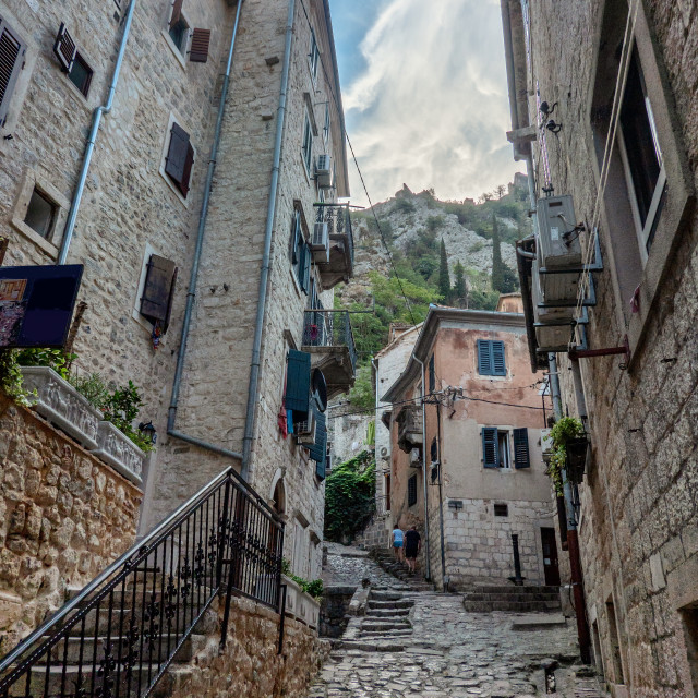 """""""Small streets and shops in Kotor city in Montenegro"""" stock image"""