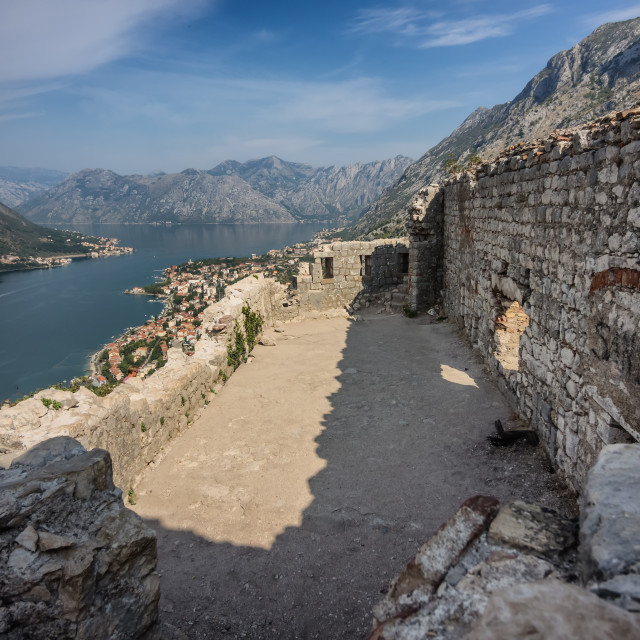 """""""Top of the fortress in Kotor in Montenegro"""" stock image"""