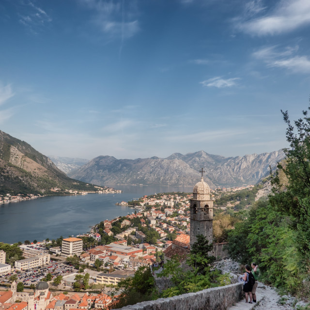 """""""Panorama over Kotor bay with harbor Montenegro"""" stock image"""