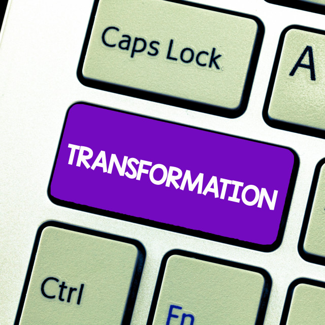 """""""Text sign showing Transformation. Conceptual photo A marked change in form..."""" stock image"""