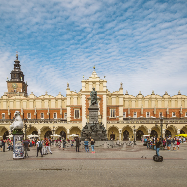 """The Main Market Square Rynek Główny, Kraków. City center of Krakow in Poland. Tourist travel destination and historical landmark."" stock image"