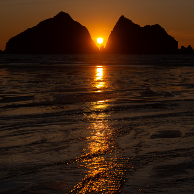 """Sunset at Holywell Bay, Cornwall"" stock image"
