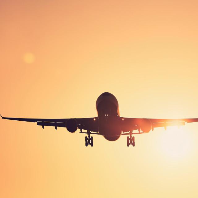 """""""Airplane landing at sunset"""" stock image"""