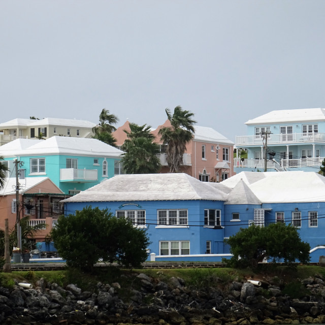 """""""Houses on Bermuda with white stepped roofs"""" stock image"""