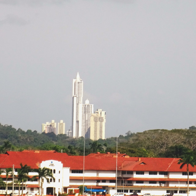 """""""Panama city from the canal"""" stock image"""